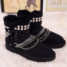 2016 remaches Chaind botas de nieve ocasionales negro mujer zapatos de moda Punk invierno botas Slip on mujer botas cálidas zapatos alta calidad(China (Mainland))