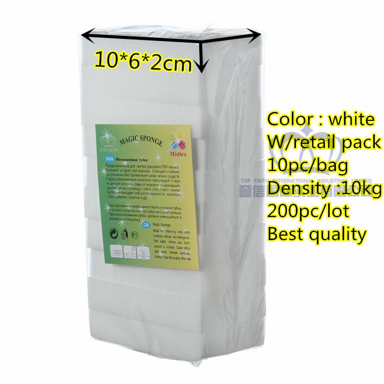 Top faith,white Magic Sponge Eraser Melamine sponge Cleaner,10*6*2cm,retail pack,multi-function Cleaning 200pc/lot,good quality(China (Mainland))