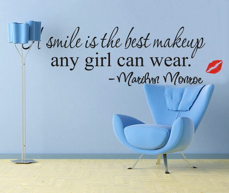 Marilyn Monroe lips kiss a smile is the best make up English proverbs wall sticker wall decals hot fashion design(China (Mainland))