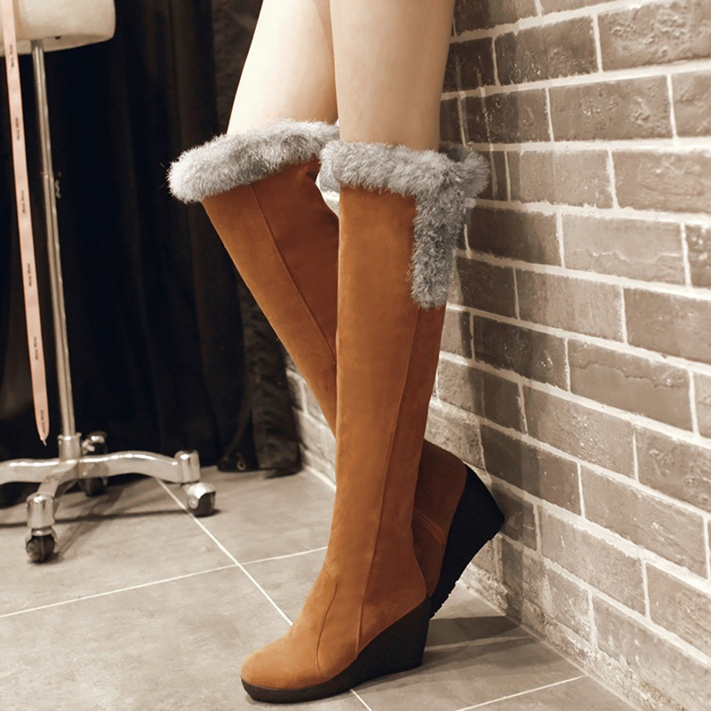 new fashion style shoes women boots high heels knee high boots 2015 autumn winter snow boots black womens shoes boots size 34-39(China (Mainland))