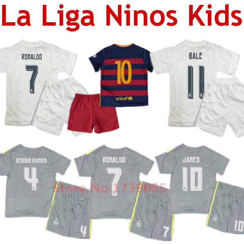 Soccer Jerseys Real Madrid Kids 2016 Spain Kids Ronaldo Children Kits Suarez Youth Set Uniform Neymar Bale James Boys Baby 15/16(China (Mainland))