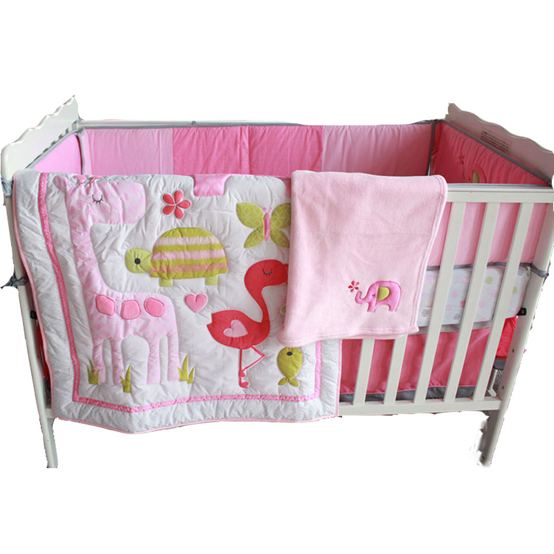 8pcs Cotton Crib Bedding Set Pink Cartoon Animal Newborn