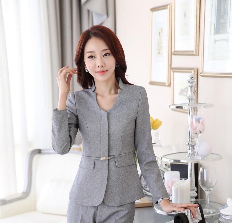 Novelty Grey Uniform Design Professional Business Women Blazers Jackets Female Tops Blaser Feminino Ladies Coat Outwear Clothes(China (Mainland))