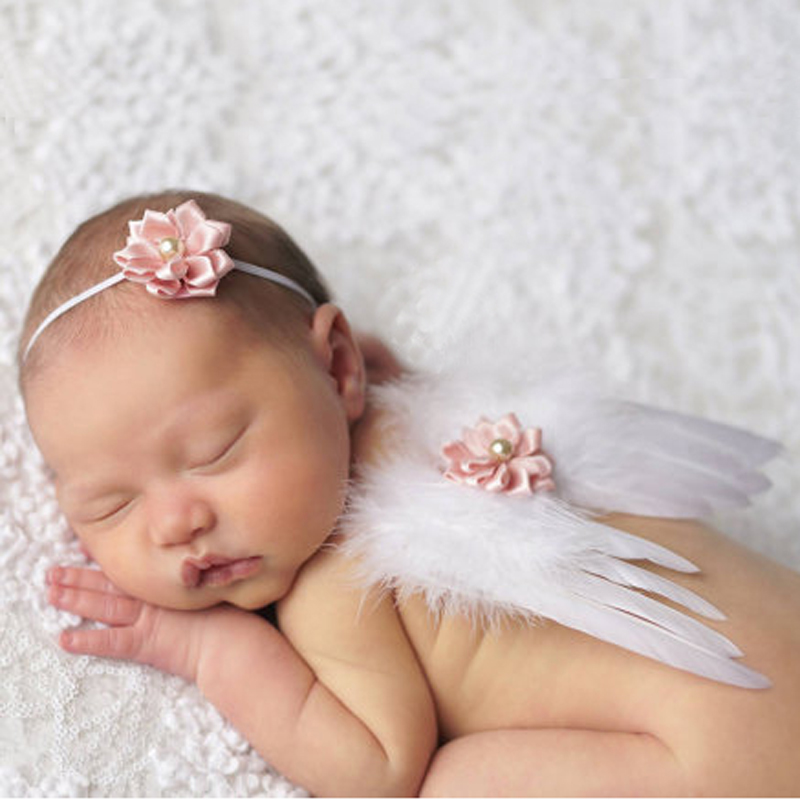 1 Set Toddler Newborn Infant Baby Girl Feather Handmade Flower Pearl Headband Angel Wings Photo Props Costume Hair Accessories(China (Mainland))