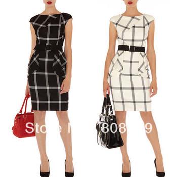 2013 Vintage plaid fashion boutique women's OL outfit slim waist one-piece dress plus size work dress DP204