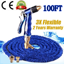 100ft Brass Connector Garden Hose 30m Flexible Expandable Magic Watering Hoses +copper Spray Gun Wash Pipe Mangueira Jardim(China (Mainland))