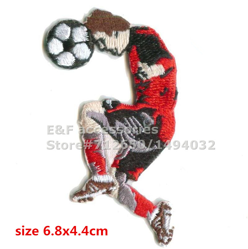 New arrival 10 pcs Playing Football Series 7 Embroidered patches iron on cartoon Motif Applique XP embroidery accessory 151109(China (Mainland))