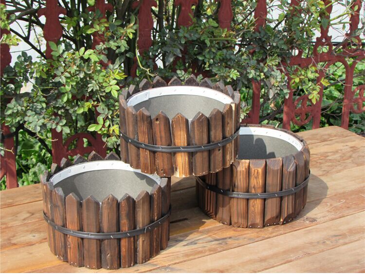 Carbide anticorrosive wood flowerpot Desktop rural planter creative wooden meaty plant restoring ancient ways