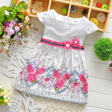 Retail 2015 Baby girl fashion dress print pearl kids summer dresses girls Brand dress princess baby dress free shipping(China (Mainland))