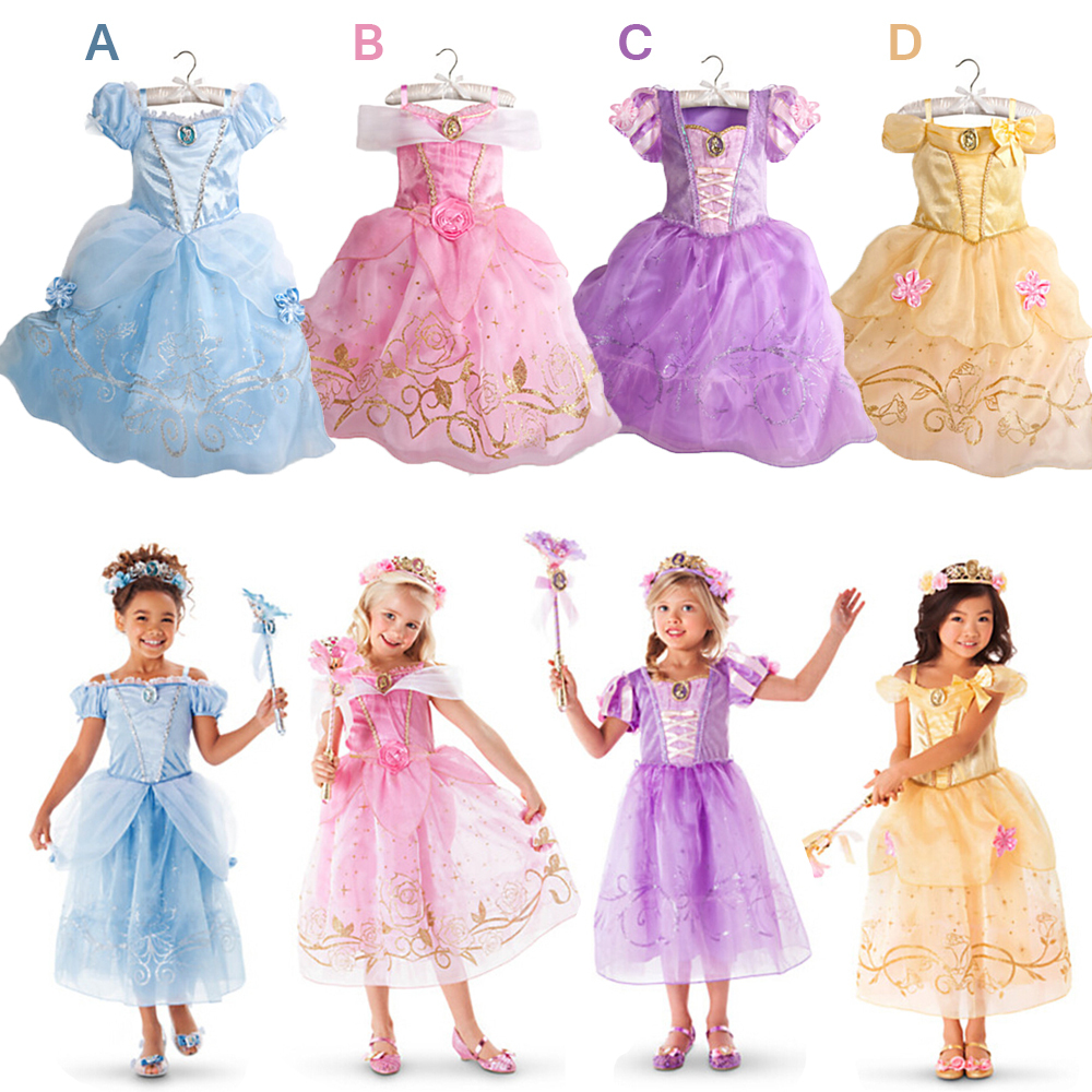 2015 New Girls Cinderella Dresses Children Snow White Princess Dresses Rapunzel Aurora Kids Party Costume Clothes Free Shipping(China (Mainland))