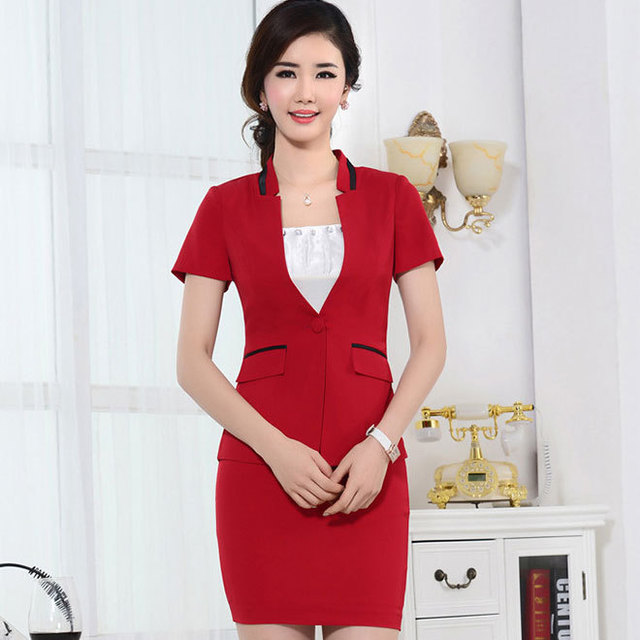 Elegant summer style office uniform designs women suits for Office uniform design 2015