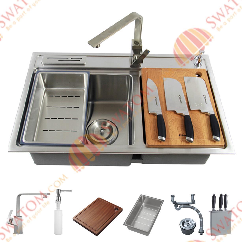 Гаджет  31-1/2-Inch 12mm-Thickness Stainless Steel Undermount Drop in Double Bowl Kitchen Sink Free Accessories, handmade Sink None Строительство и Недвижимость