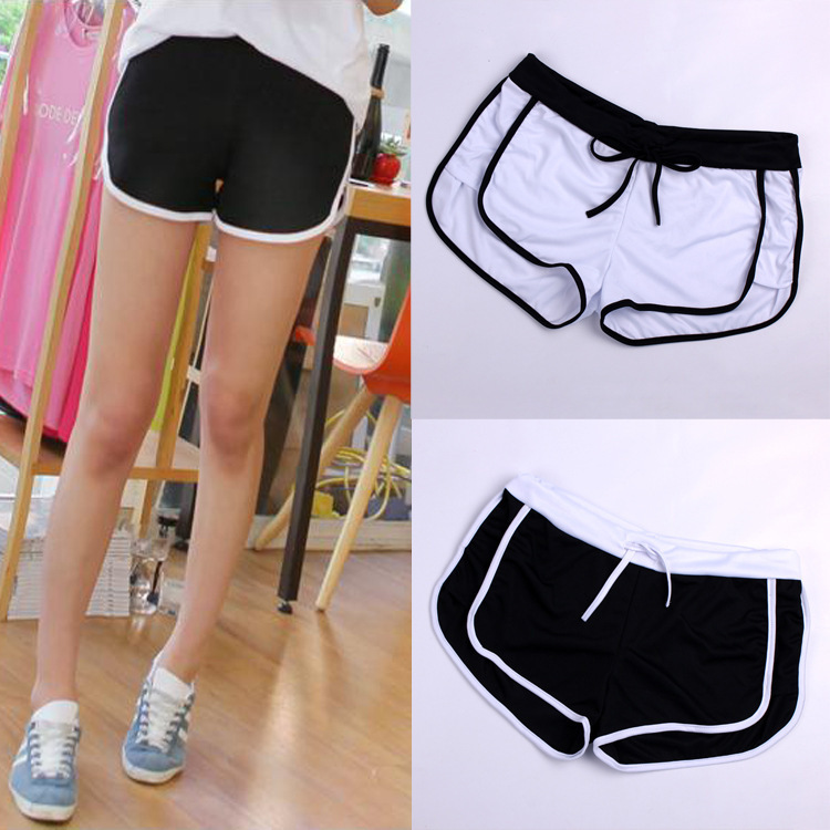 2015 New Fashion Summer Women's Black White Casual Fitness Vintage Drawstring workout Shorts GYM Stretch Feminino Female - KF Store store
