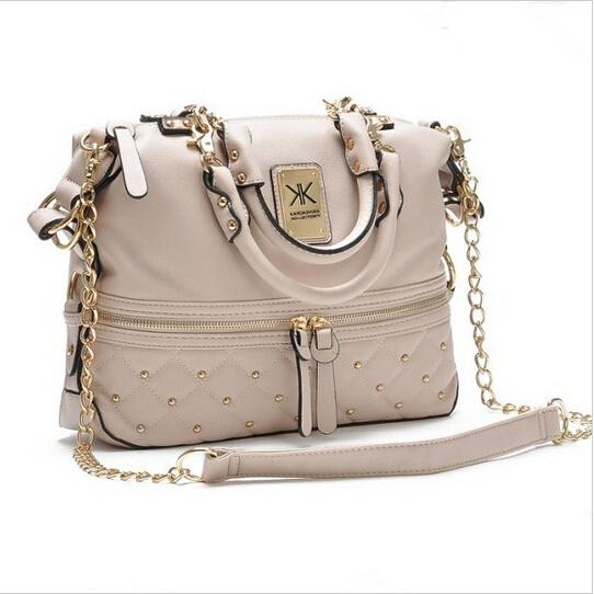 Kim kardashian kollection kk bag designer brand bag 2014 kk handbags women rivet fashion portable bucket chain messenger bags(China (Mainland))