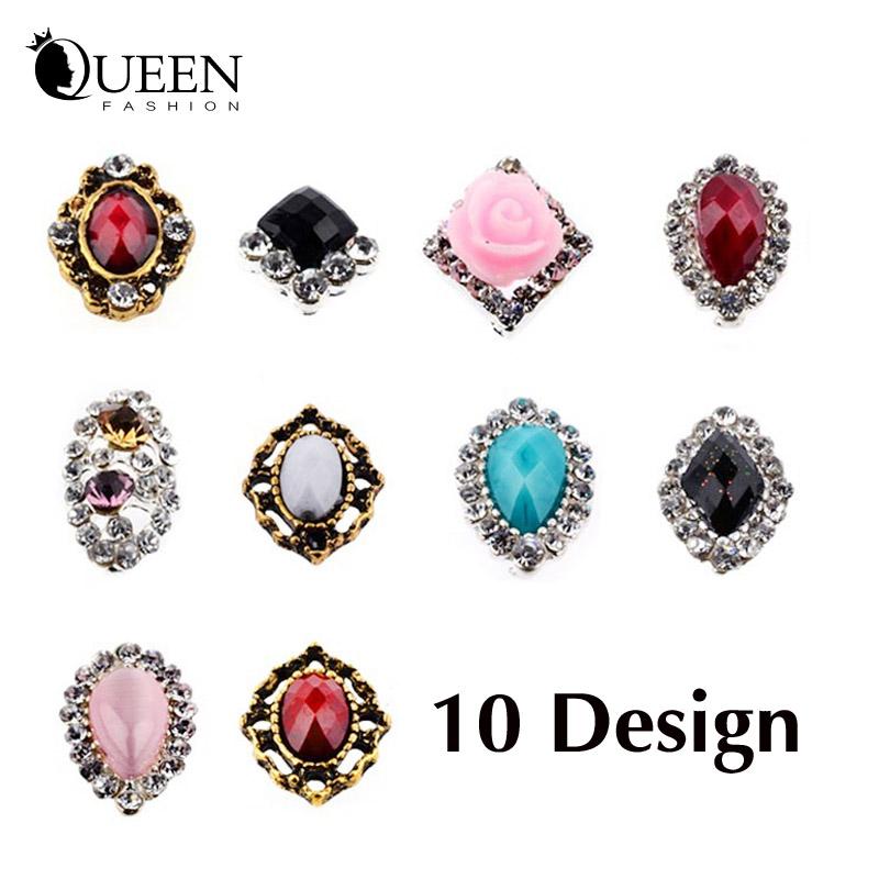 Arrive 3d Diamond Alloy Rhinestone Nail Decoration,10Designs(10pcs) DIY Crystal Accessories,Glitter Art Jewelry - Fashion Queen Accessory Co. , Ltd store