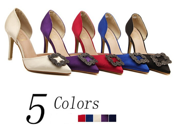 Woman Shoes 5 Color sexy wedding shoes Women's Rhinestone high heels ladies Two piece Casual pumps