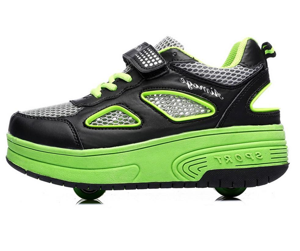 Children roller shoes with two wheels breathable mesh roller skates