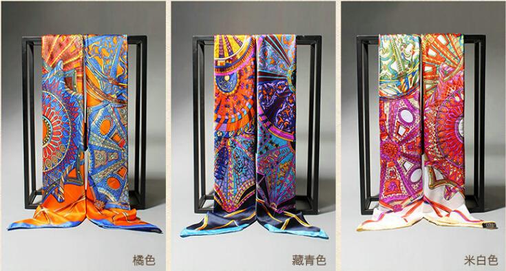 Scarf Women large satin square scarf 180 * 90 cm sky red brand Emulation silk scarf headband summer style scarfОдежда и ак�е��уары<br><br><br>Aliexpress