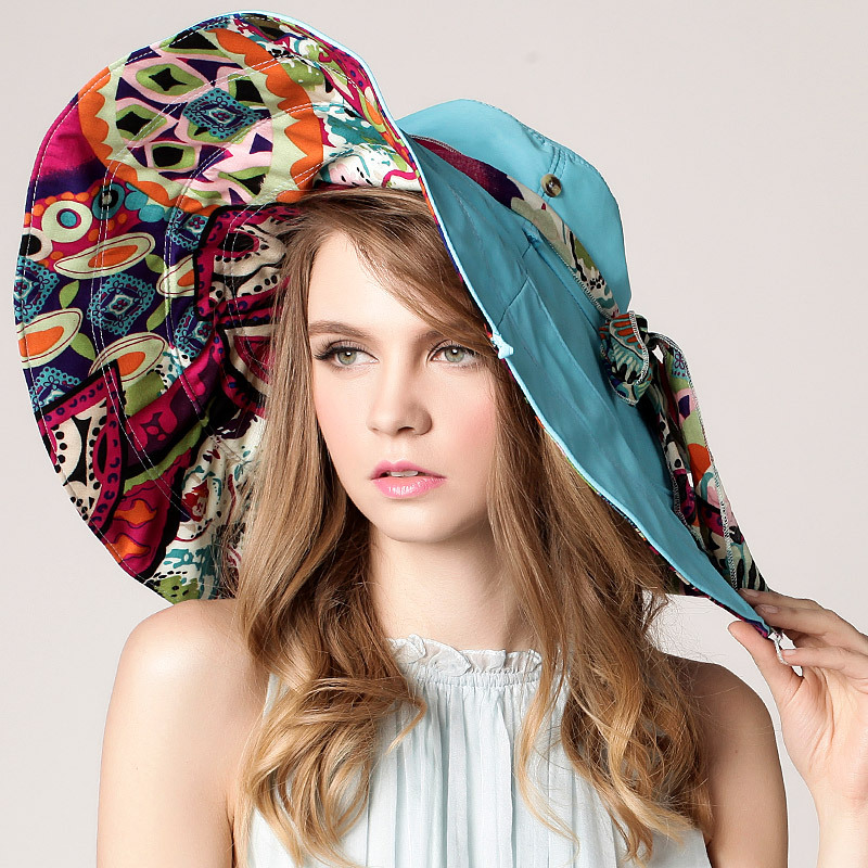 2015 Korean version of the new summer hat lady hat s female cycling folding beach hat large brimmed sun hat outdoors(China (Mainland))