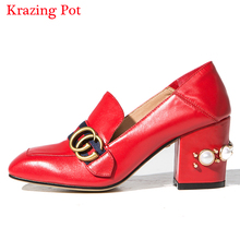 2017 New Fashion Big Size Genuine Leather Brand Shoes Pearl Thick High Heels Rivets Women Pumps Casual Wedding Square Toe Shoes(China (Mainland))