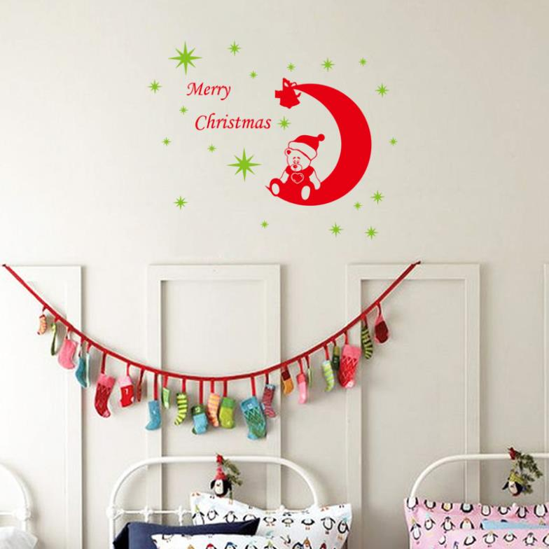 Cartoon Christmas decorative Good night baby bear wall sticker for kids removable waterproofing home wall sticker XMAS28(China (Mainland))