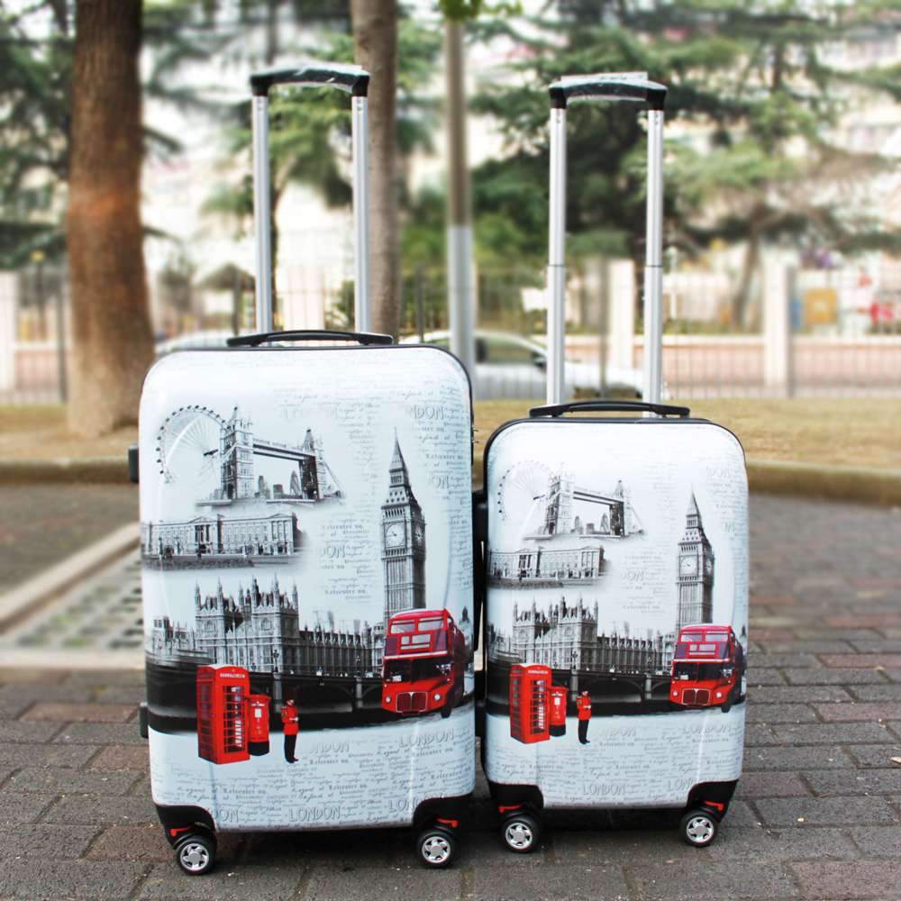 "Vintage Style 20"" 24"" Inches Hard Shell Travel Luggage Suitcase Special Printing ABS+PC Cabin Case Mixed Color(China (Mainland))"