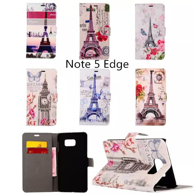 For Samsung galaxy Note 5 edge wallet case, Eiffel tower Big ben Wallet leather case Stand Card slots Bill site functions(China (Mainland))