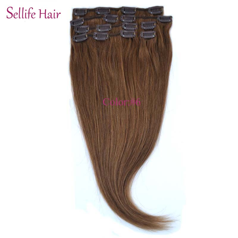 Easy Clip In Remy 100% Human Hair Extensions Straight 15 18 20 7Pieces DIY Full Head Best Price CHOOSE COLOR<br><br>Aliexpress