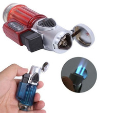 Hot Sales High Quality Windproof Gas Cigarette Lighter Trip Torch Jet Flame Refillable Butane Cigar Lighter(China (Mainland))