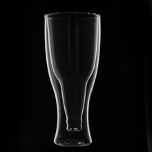 250ml HOT Creative Upside Down Bottom-up Double Wall Beer Drinking Glass Barware Free shippingFree Shipping