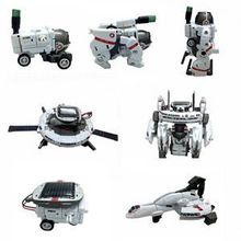2014 New Fashion White DIY Solar Rechargeable Space Fleet Kit 1Set 7-in-1 Solar Robot Kit For Kids Children(China (Mainland))
