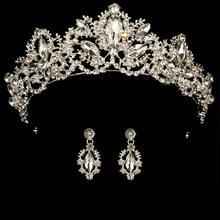 Couronne de mariage reine mariée diadème couronne de mariée avec boucle d'oreille luxe strass bandeau diadème mariée cheveux bijoux ornements(China)
