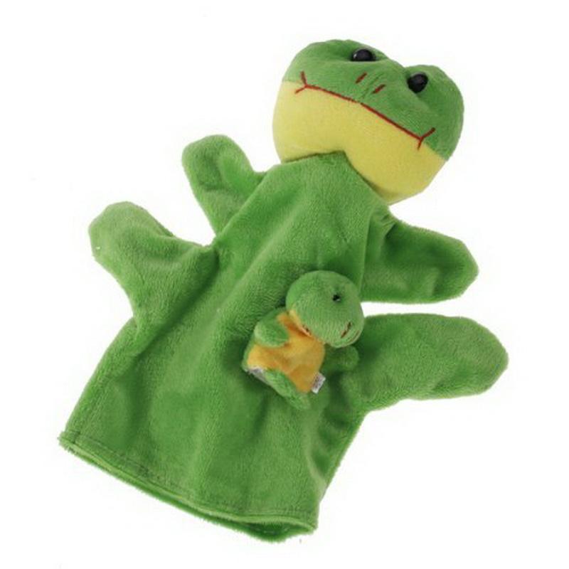 1 Pair Green Animal Hand Puppet Finger Puppet Animal Glove Puppet Hand Dolls Plush Toy(China (Mainland))
