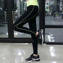 2015 Korea was thin Absorbent Quick Dry black Waist stripe sports and fitness exercise sexy high fashion woman jogging leggings