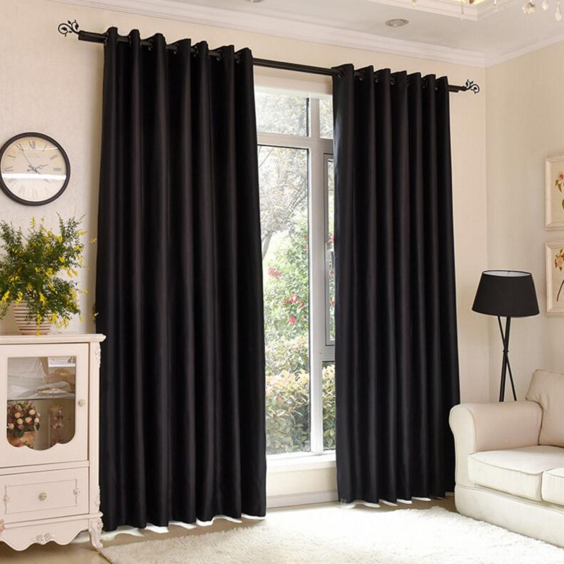Fashion solid black curtains windows home bedroom blackout Dark curtains small room