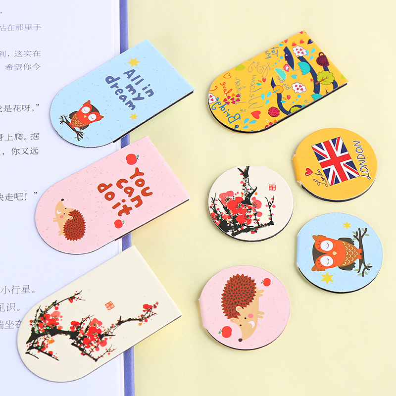 South Korea stationery lovely color magnetic bookmark cartoon small fresh students mini book clip supplies gift(China (Mainland))