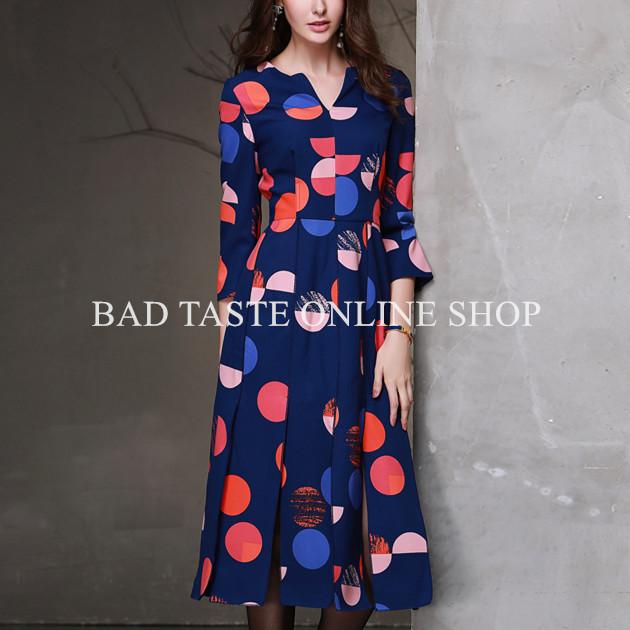 有名な デザイナー ブランド藍多ポルカ ドット柄物分割ミディ ドレス女性の短い袖