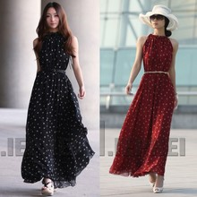 Women Boho Long Maxi Chiffon Dress Sleeveless Polka Dot Dress TQ