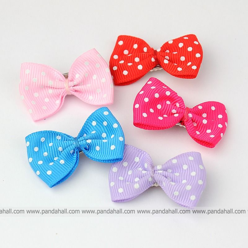 Iron Flat Alligator Hair Clips, Printed Dot Ribbon Bowknot, Mixed Color, 35~40mm - Pandahall Online Store store