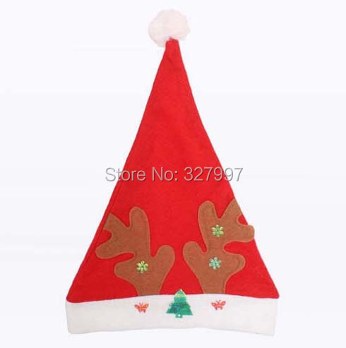Christmas Santa Claus hat party cute felt Xmas caps ornaments real photo adornos navidenos has 15pcs/lot(China (Mainland))