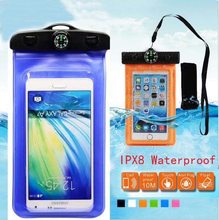 Swim Waterproof Bag Outdoor sports Compass Waterproof case for LG G2/G2mini/G3/G3 mini/Nexus 5/4/Oneplus One For HTC Desire 816(China (Mainland))