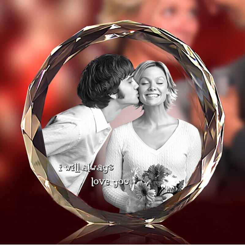 3D Laser Engraved DIY K9 Crystal Fotos Frame Round Family Wedding Photo Album Valentine's Day Anniversary Picture Frames Gift(China (Mainland))
