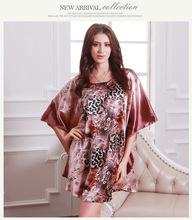 Горячие Продажа Женщины Шелковый Leopard Ночные Сорочки Сексуальная Форме Крыла Летучей Мыши Рукав Халат Ночь Платье Плюс Размер Халат Ночную Рубашку(China (Mainland))