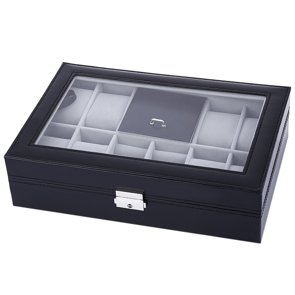 New Fashionable Black&Grey 8 Grids with 3 Mixed Grids Wrist Watch Case Transparent Cover Jewelry Storage Display Organizer Box(China (Mainland))