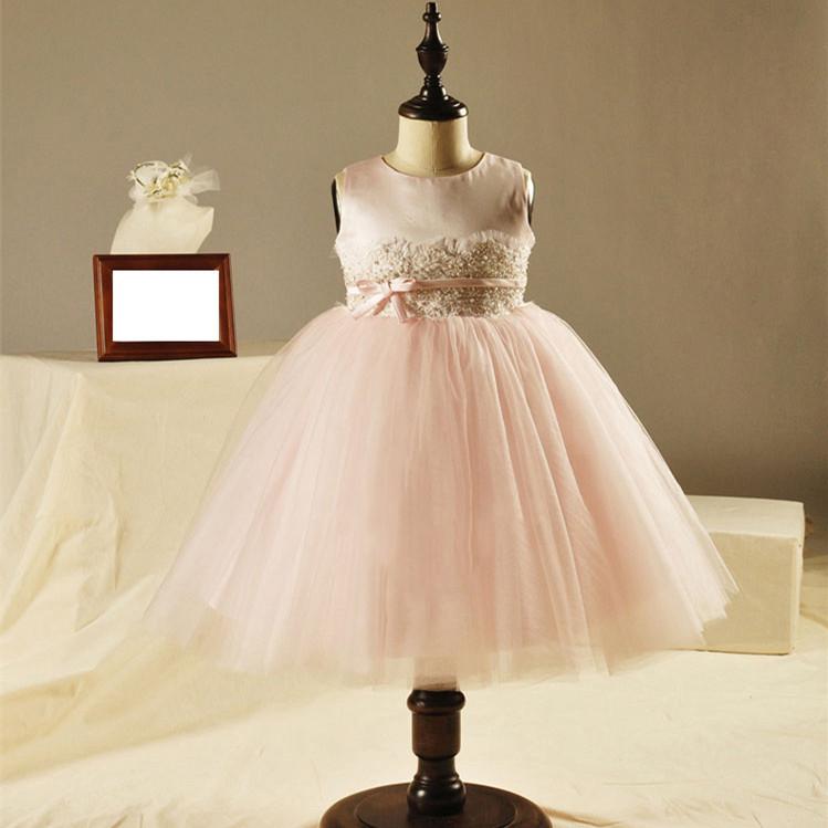 豪華なウエスト+ソリッドカラー、 幼児の女の子のための完璧な1歳誕生日のドレス、 1240結婚式のた.
