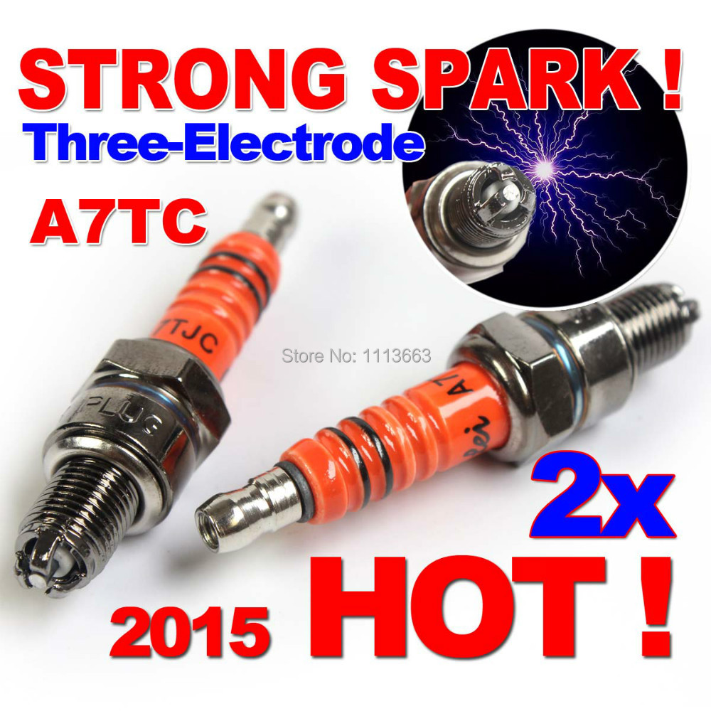 Three-Electrode Performance A7TC Motorcycle Spark Plug 50cc 70cc 90cc 110cc 125cc ATV Dirtbike 50 125 150cc Moped Scooter A7TJC(China (Mainland))