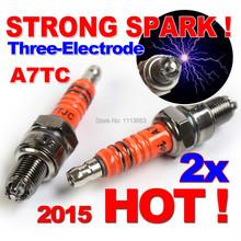 Three-Electrode Performance A7TC Motorcycle Spark Plug 50cc 70cc 90cc 110cc 125cc ATV Dirtbike 50 125 150cc Moped Scooter A7TJC(China (Mainland))