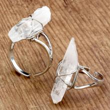 Natural Rock Crystal Quartz Ring Winding Fashion Style Women Rings Fashion Jewelry