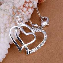 Hot Sale Free Shipping 925 Silver Necklaces Pendants Fashion Sterling Silver Jewelry Insets Double Heart Pendant