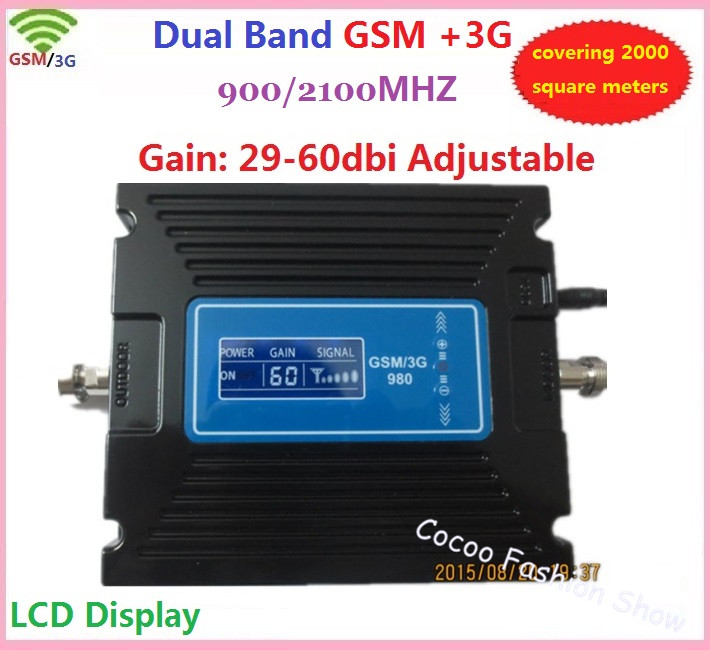 Newest mobile GSM signal booster 3G signal repeater cell phone gsm 3g dual band signal booster 3g signal amplifier LCD display(China (Mainland))